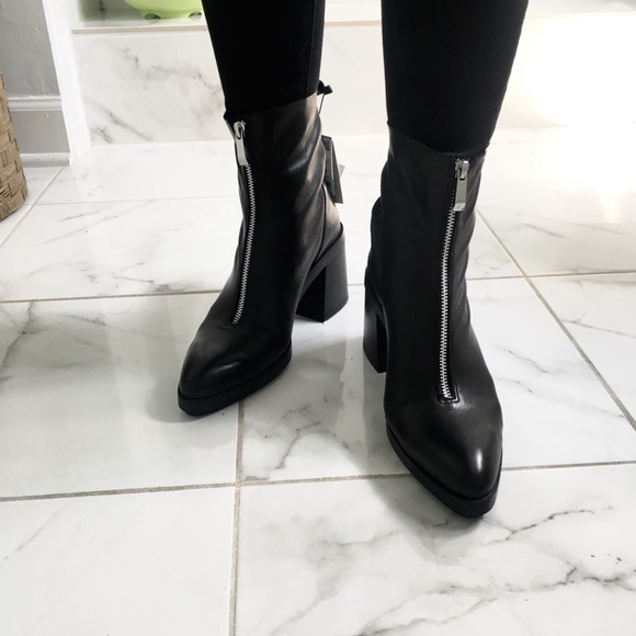 4b8708a2a3f ZARA high heel leather ankle boots with zipper NWT
